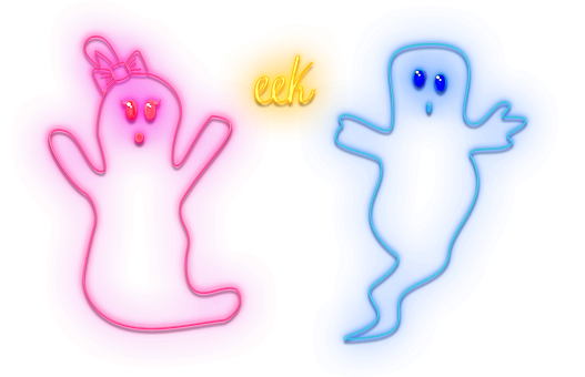 Halloween, Neon Ghosts, Ghosts, Neon Lights