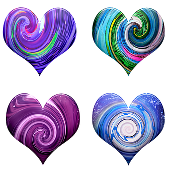 Hearts, Swirls, Pattern, Colorful, Art, Valentine