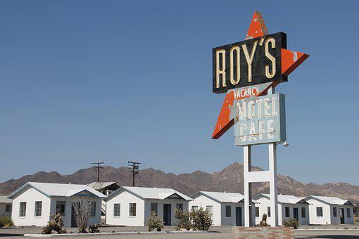 Buildings, Sign, Road, Roy's, Route 66, Highway
