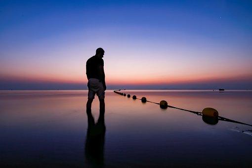 Seascape, Silhouette, Twilight, Sea, Ocean, Beach