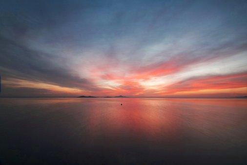 Seascape, Dawn, Dusk, Sea, Ocean, Water, Mar Menor