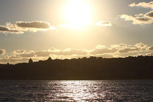 Sunset, Sunrise, Silhouette, Sun, Sunlight, Sea, Ocean