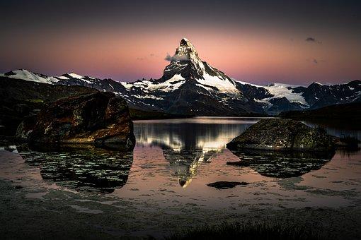 Mountains, Snow, Lake, Water Reflection, Mountain Range