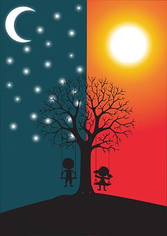 Boy, Girl, Swings, Tree, Branches, Stars, Moon, Sun