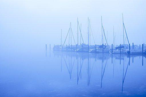 Blue Hour, Lake, Port, Fog, Mist, Water