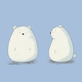 Cartoon, Bear, White Bear, Cute Bear, Animals, Mammals