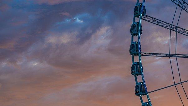 Ferris Wheel, Amusement Ride, Twilight, Cloudy Sky