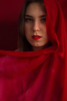 Portrait, Woman, Model, Red Scarf, Beauty, Beautiful