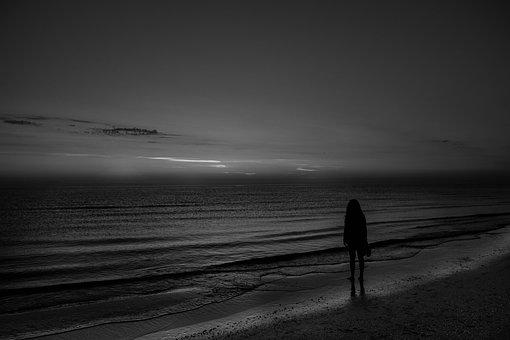 Beach, Woman, Black And White, Girl, Sad, Unhappy