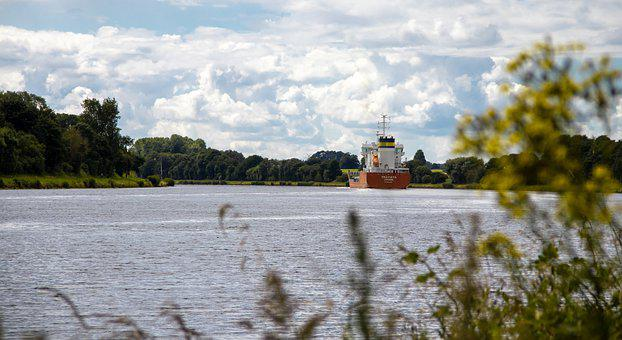 Waterscape, Canal, Cargo Ship, Waterway