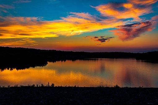 Silhouette, Lake, Dawn, Dusk, Cloudy Sky