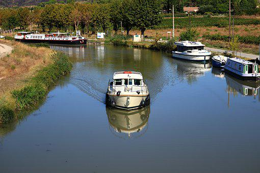 Canal Du Midi, Boats, Canal, France, Languedoc