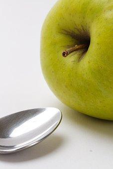 Apple, Green Apple, Spoon, Silver Spoon, Fruit, Food