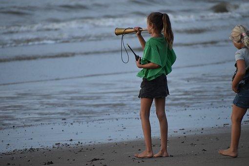 Girls, Children, Beach, Play, Sea, Rescue, Sunset