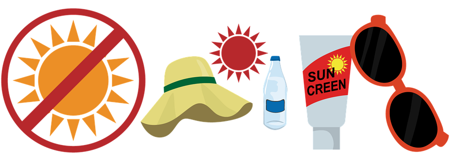 Heat Stroke Prevention, Icons, Stickers, Sunglasses