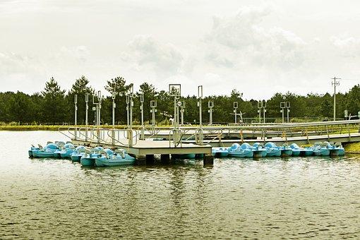 Park, Boats, Trees, Reflection, Nature, Lake, Retro