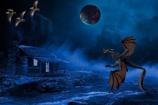 Dragon, Birds, Planet, Cabin, Hut, Fantasy, Mystical