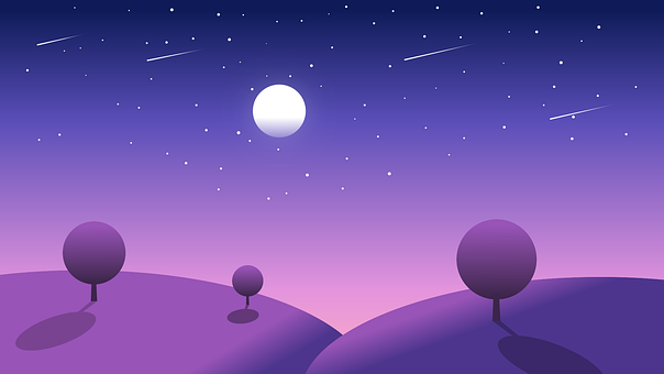 Landscape, Night Sky, Month, In The Evening, Night