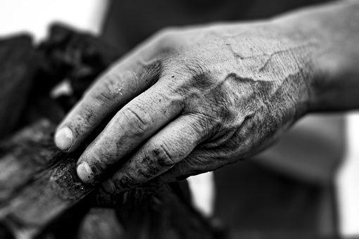 Hand, Fingers, Aged, Work, Veins, Old, Textured, Male