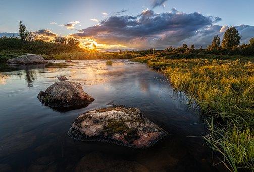 Sunset, River, Nature, Water, River Bank, Sunrise