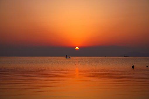 Sunrise, Sun, Sunset, Sea, Ocean, Seascape, Reflection