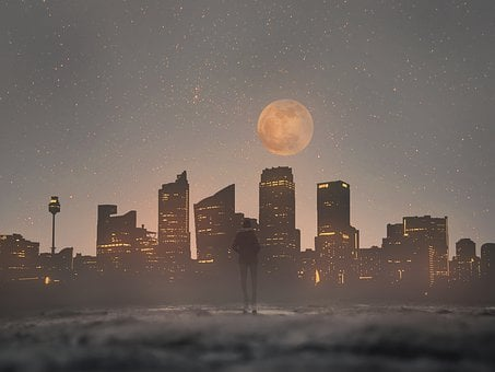 Cityscape, Skyscrapers, Skyline, Moon, Night Time