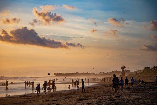 Beach, Dusk, People, Vacation, Leisure, Swim, Ocean