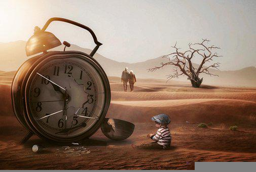 Baby, Clock, Time, Couple, Tree, Desert, Sand, Surreal