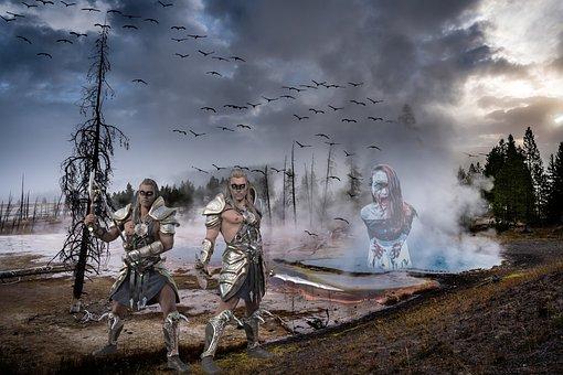 Warrior, Knight, Sword, Mysterious, Man, Gloomy, Alien