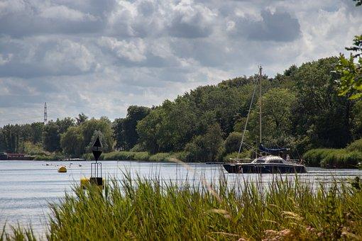 Waterscape, Canal, Sailing Vessel, Motorsailer