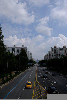 Road, Asphalt, Cars, Vehicles, Traffic, Sky, Cloud