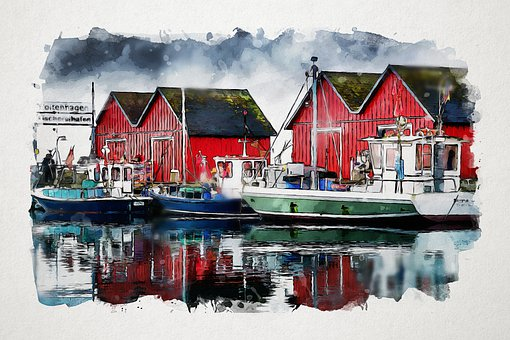 Waters, Port, Boatyard, Pier, Sea, Fishing Boats, Boats