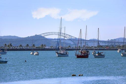 Boats, Bridge, Structure, Lake, Bay, Sky