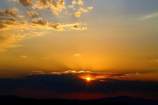 Sunset, Skyscape, Cloudscape, Sun, Sunlight, Sun Beam
