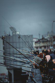 Fishermen, Fishing, Fishing Rods, Estuary, Street, Men