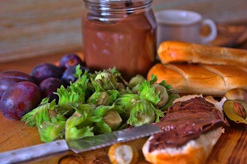 Breakfast, Food, Breads, Hazelnut Spread, Plums