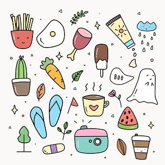 Doodle, Fun, Food, Drawing, Cute, Design, Print, Simple