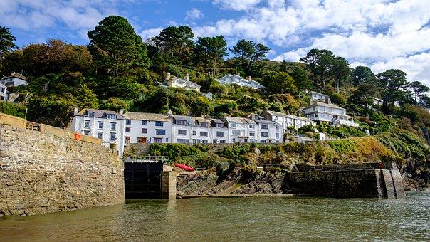 Harbour, Village, Houses, Stone, Wall, Hillside, Sea