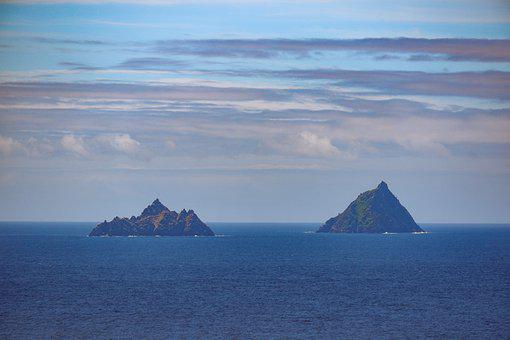 Island, Rocks, Ocean, Horizon, Clouds, Panorama