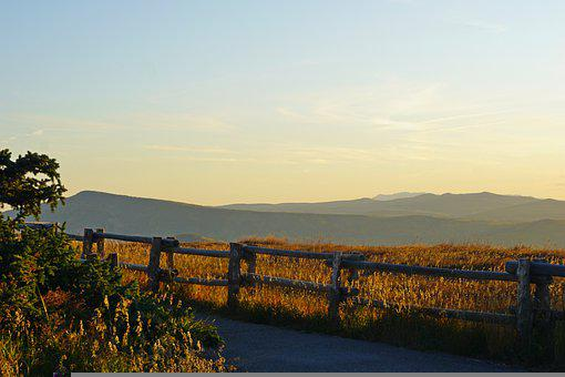Mountains, Meadow, Fence, Sunrise, Outdoors, Nature