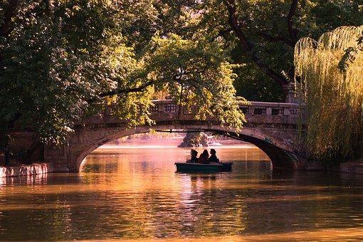 Bridge, Boat, Silhouette, Lake, Water, Trees, People