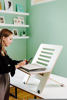 Woman, Phone, Desk, Stand, Young, Office Work