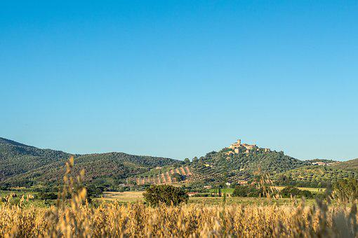Castle, Village, Mountain, Field, View, Landscape