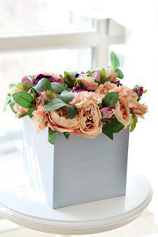 Flowers, Box, Bouquet, Floral Arrangement, Petals