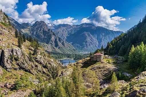 Landscape, Lake, Mountains, Mountain Range, Trees