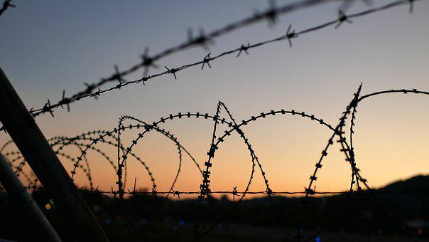 Migrant Camp, Lesbos, Immigration, Barbed Wire, Fence