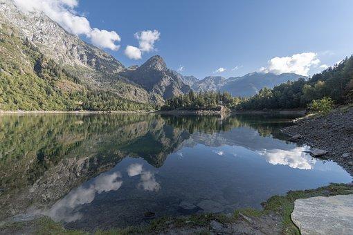 Lake, Water Reflection, Mountains, Mountain Range