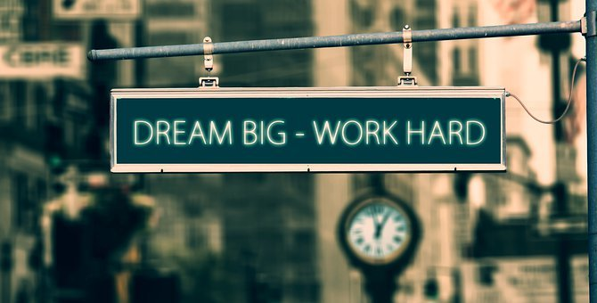 Dream Big Work Hard, Sign, Quote, Motivational Quotes