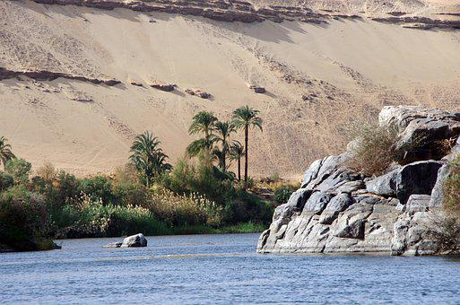 River, Rocks, Desert, Sand, Sahara, Palm Trees