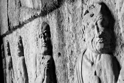 Wall, Ruins, Sculptures, Faces, Stone, Street, Culture